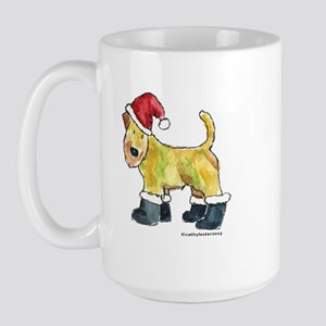 Wheaten terrier playing Santa Large Mug